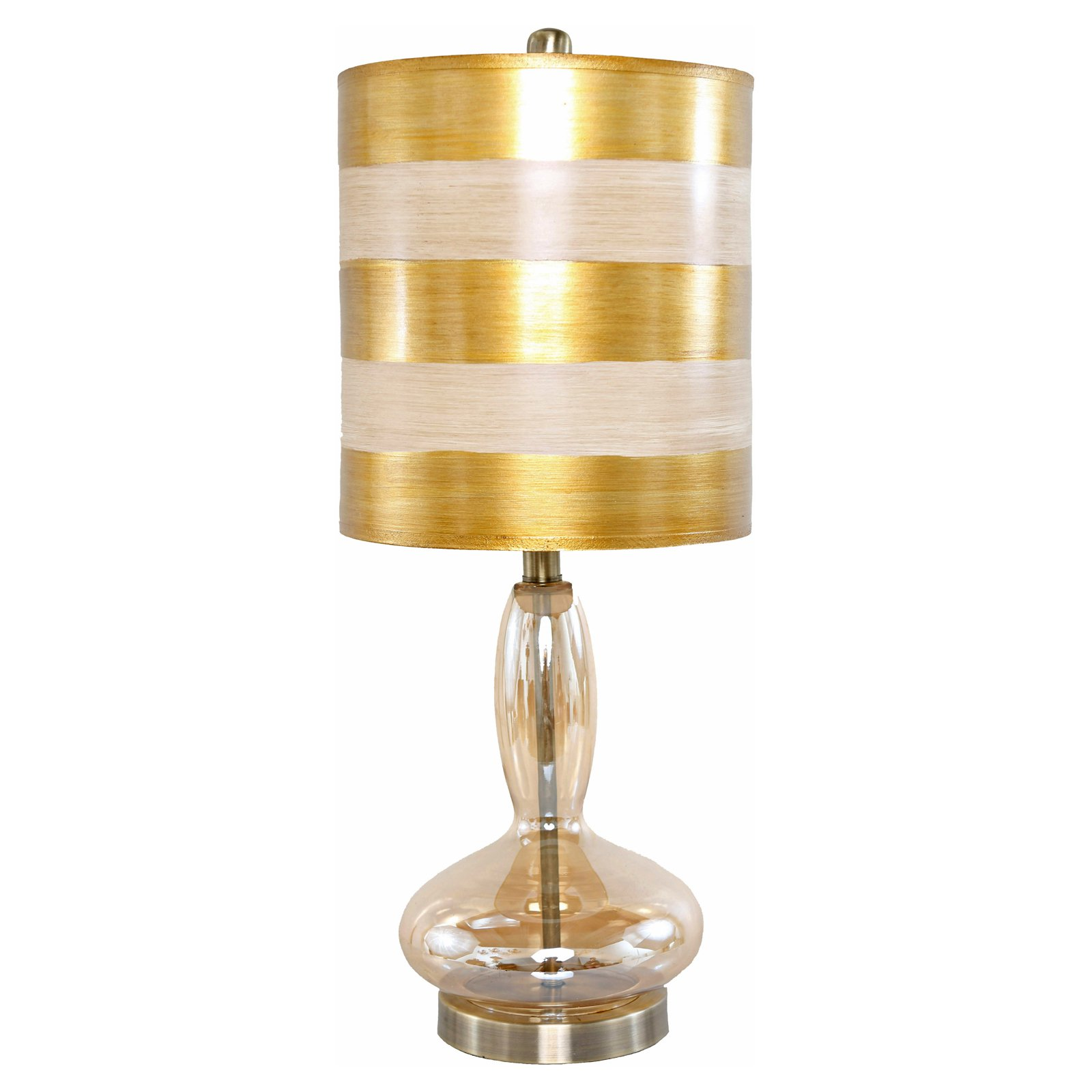 River Of Goods Golden Art Deco Handblown Curved Glass Base Table