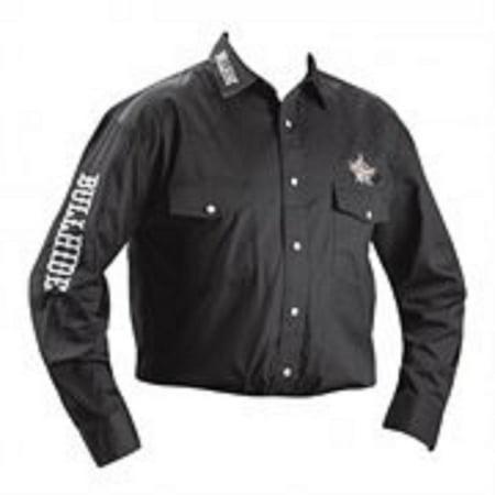 Bullhide Men's PBR Embroidered Black Western Shirt in X-Large Size Embroidered Black Western Shirt