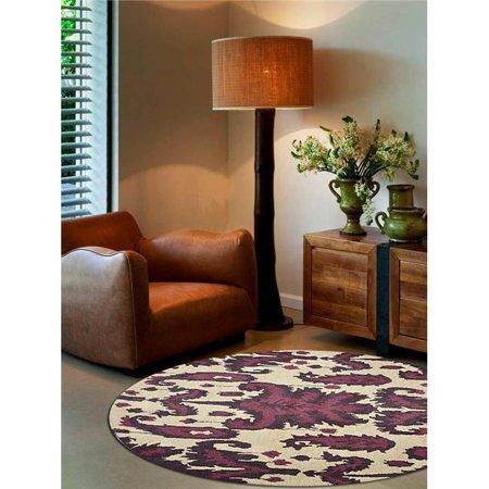6 x 6 ft. Floral Hand Tufted Woolen Round Area Rug, Cream & Brown ()