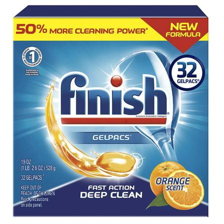 Finish Gelpacs 84ct, Fast Action, Deep Clean, Orange Scent, Dishwasher Detergent Tablets