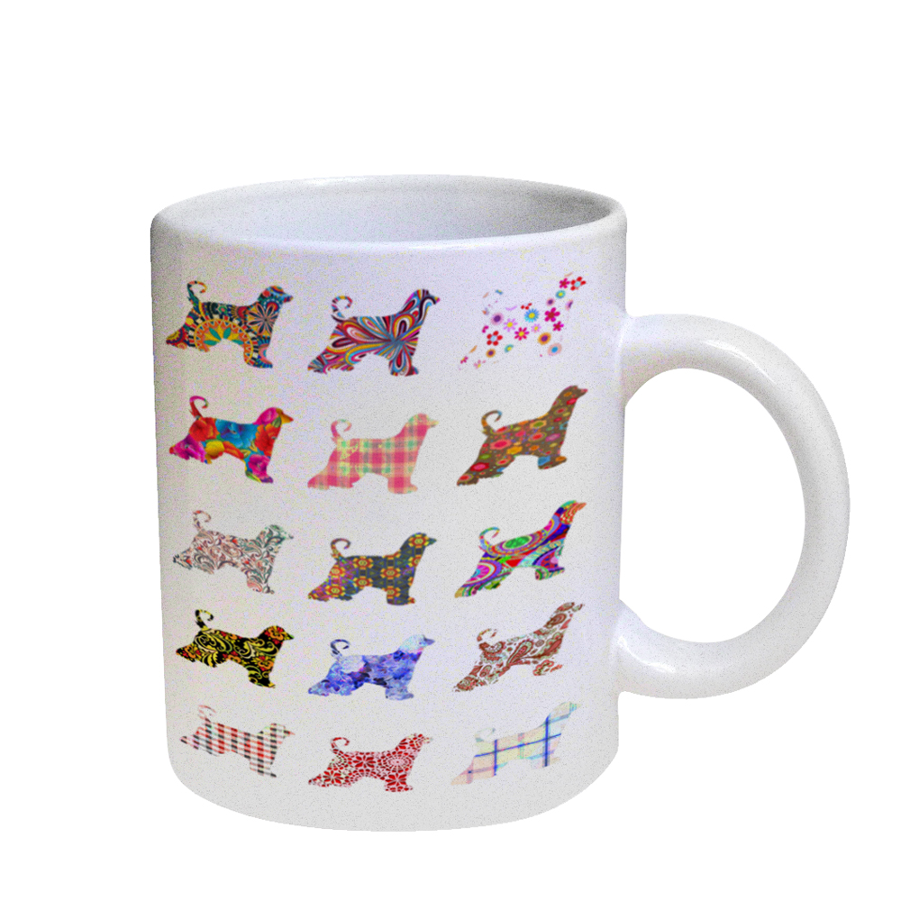 KuzmarK Coffee Cup Mug Pearl Iridescent White - Afghan Hound Dog