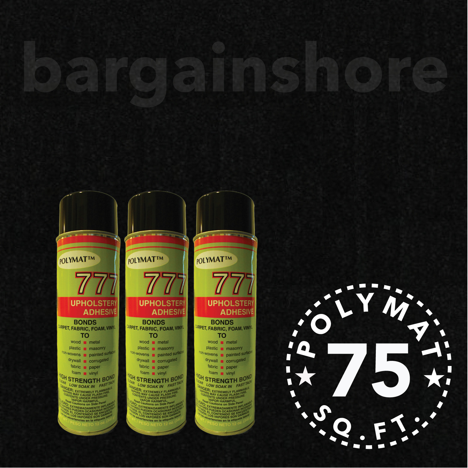 20t x 3.75ft + 3 (777) GLUE ADHESIVE CANS BLACK FOR STORE...