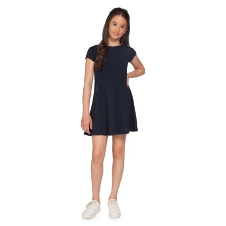 Girl's Textured Dress (Fancy Dress Ideas For Girl In India)