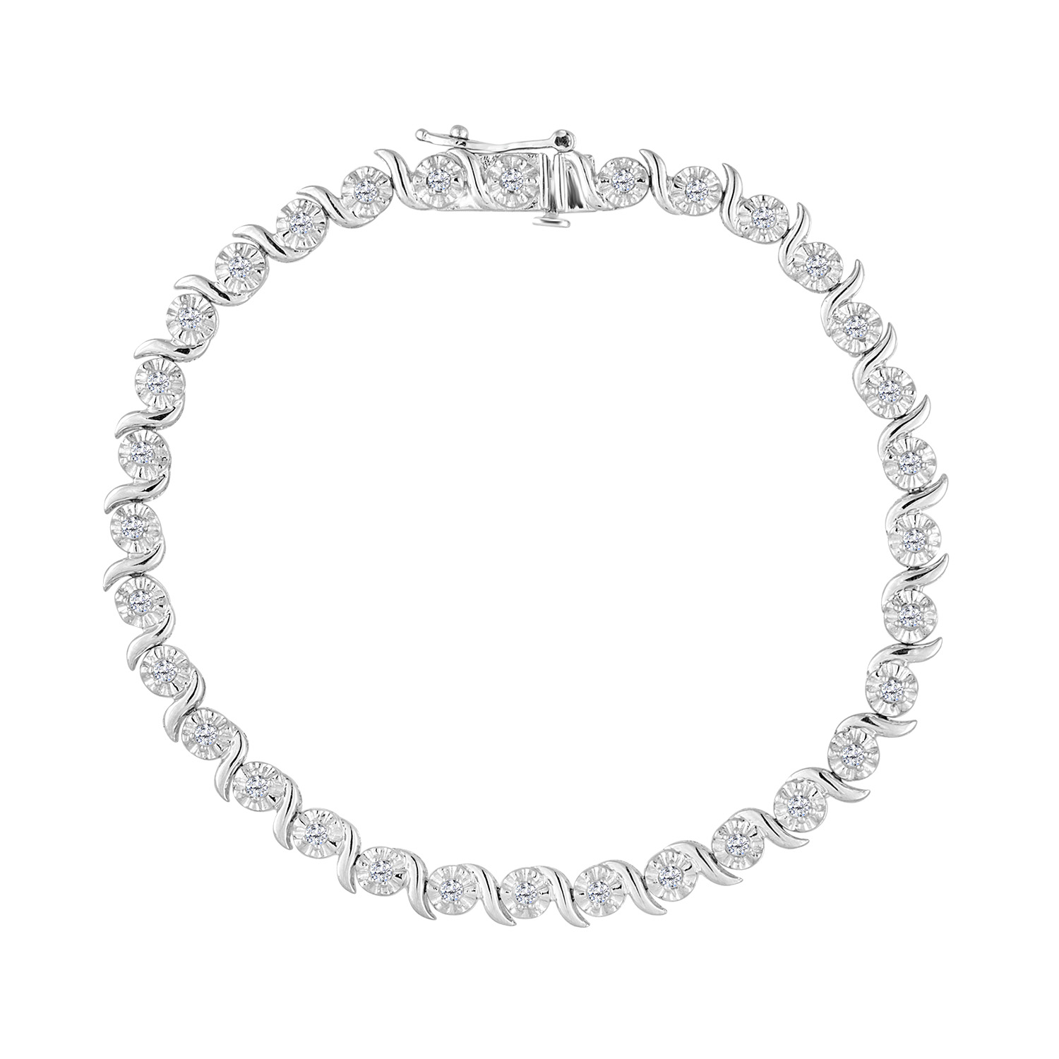 Sterling Silver 1 CTTW Rose Cut Diamond Spiral Link Bracelet (I-J, I3) by VJG