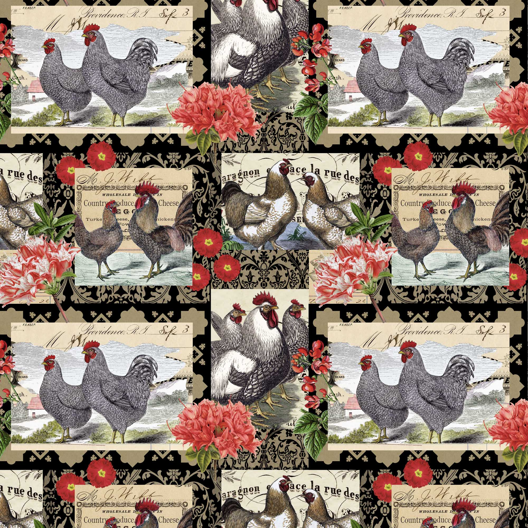 David Textiles Cotton Precut Fabric Rooster Patch 1 Yd X 44 Inches