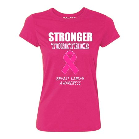 Promotion & Beyond Stronger Together Breast Cancer Awareness Women's T-shirt, 3XL, Cyber Pink