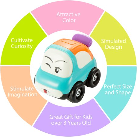 VicTsing Pictek Cars Toy, Set of 3 Play Vehicles, Push and Go Friction Powered Car Toys, Mini Cartoon Hands Pushing Vehicles for Toddlers