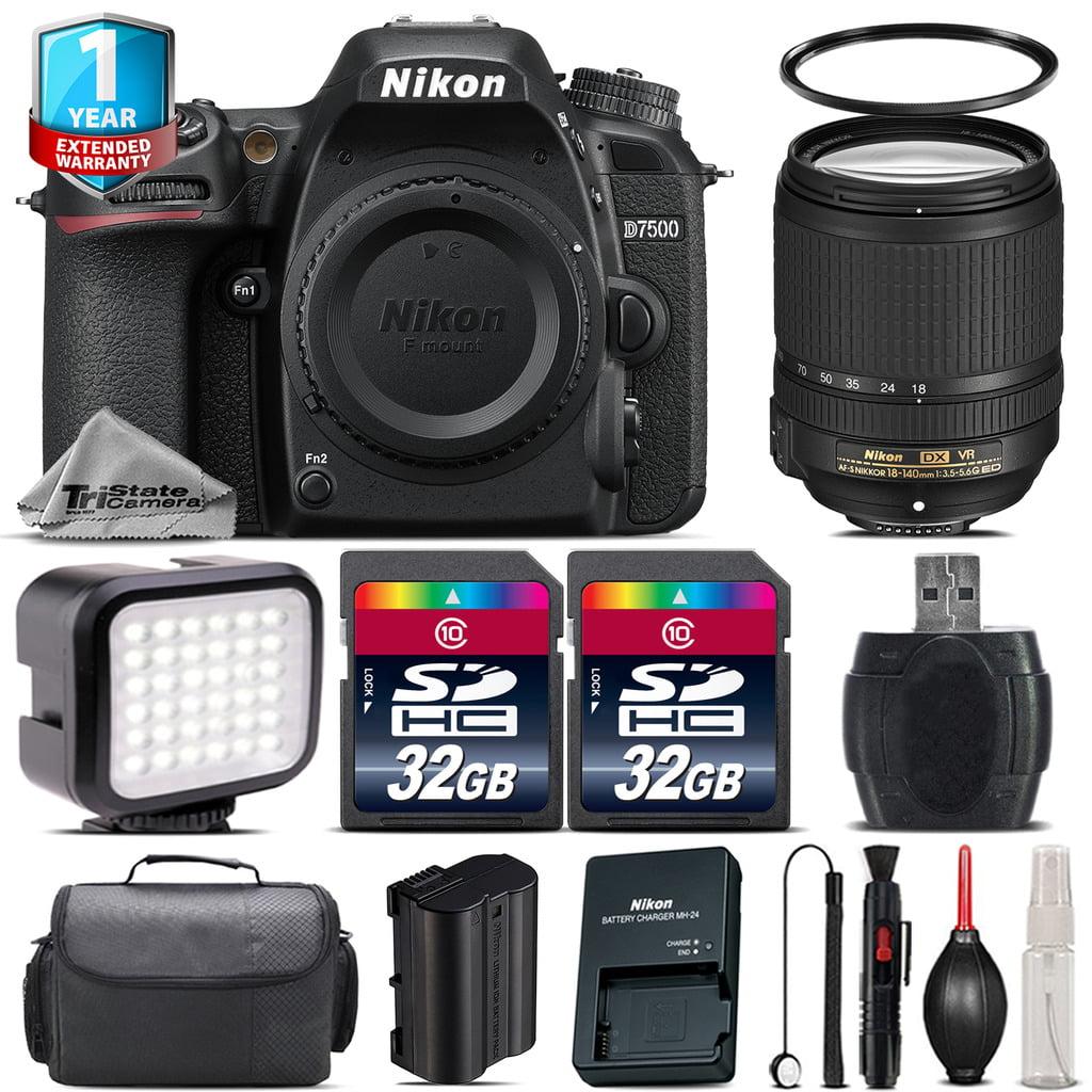 Nikon D7500 Camera + AFS 18-140mm VR + LED + Case + 1yr Warranty - 64GB Bundle