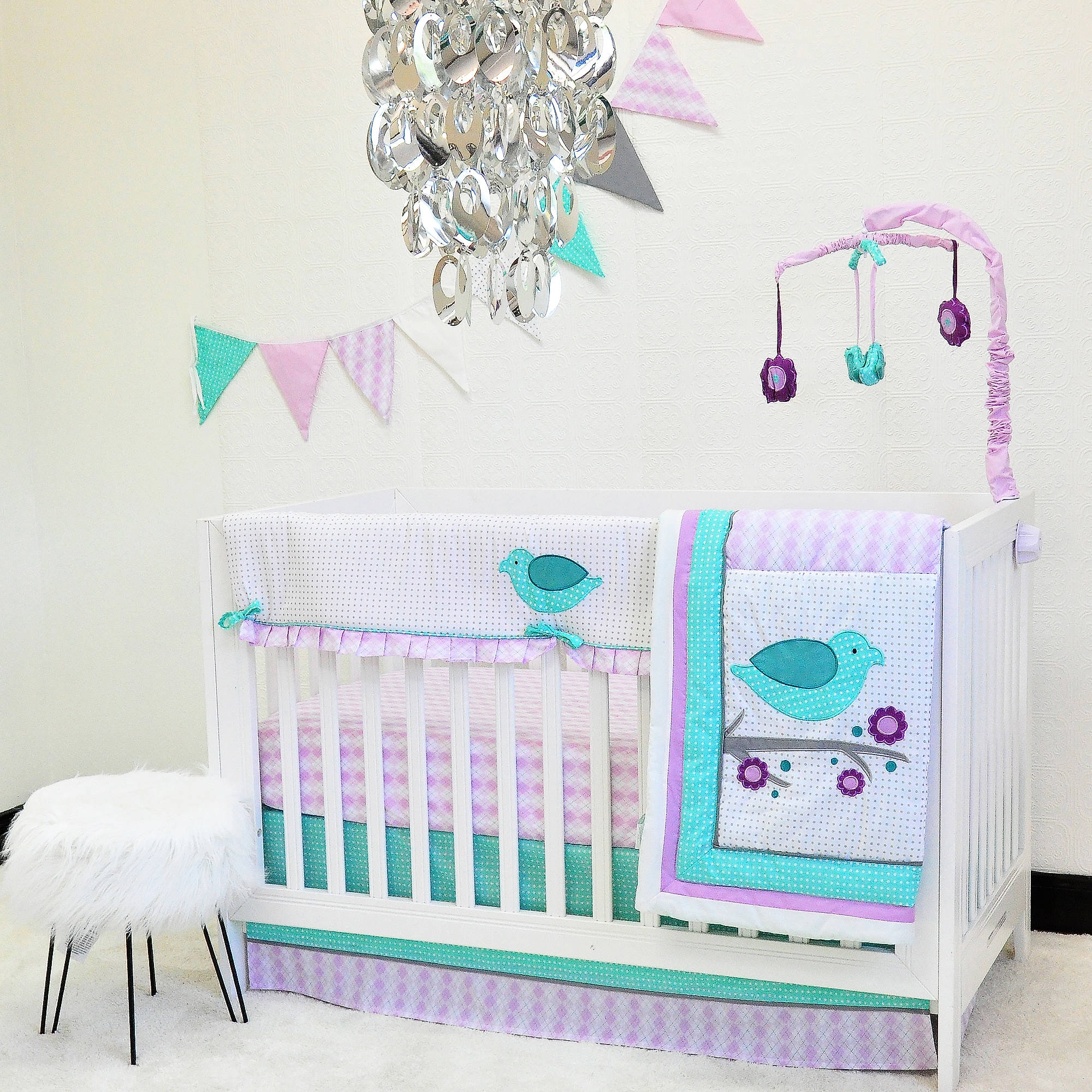 Pam Grace Creations Lovebird Lavender 10-Piece Crib Bedding Set