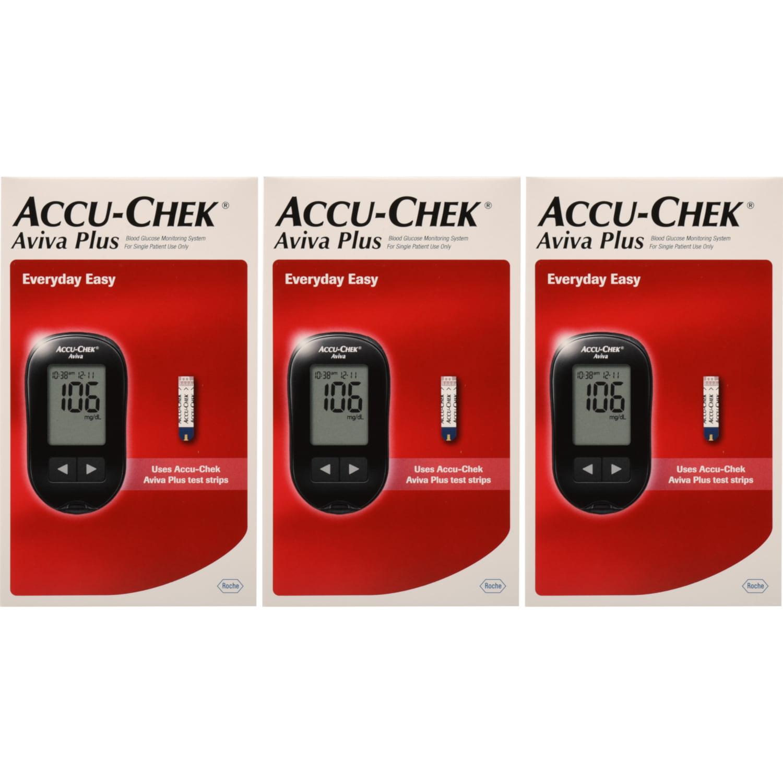 3 Pack Accu-Chek Aviva Plus Blood Glucose Monitoring System Kit