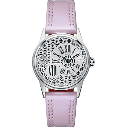 Marvin M018123887 33mm  Stainless Steel Case Purple Leath...