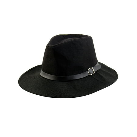 Men Summer Outdoor Linen Wide Brim Western Style Beach Sunhat Cowboy Hat Black](Camel Hat)