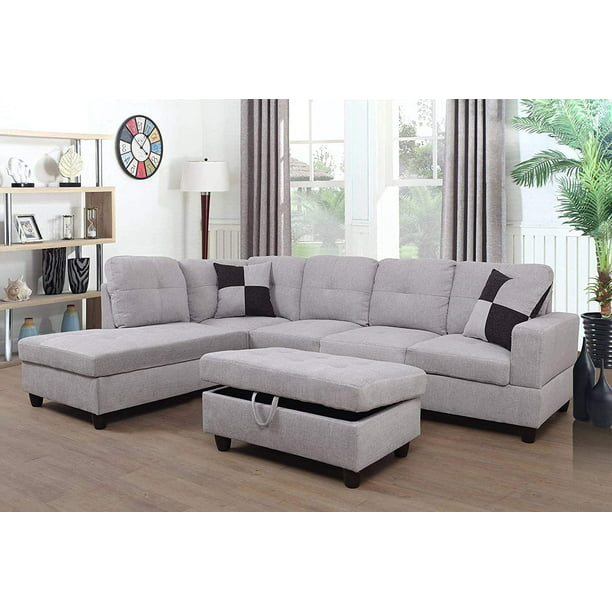 AYCP Furniture 3 PCPiece Sectional Sofa Couch Set, L ...