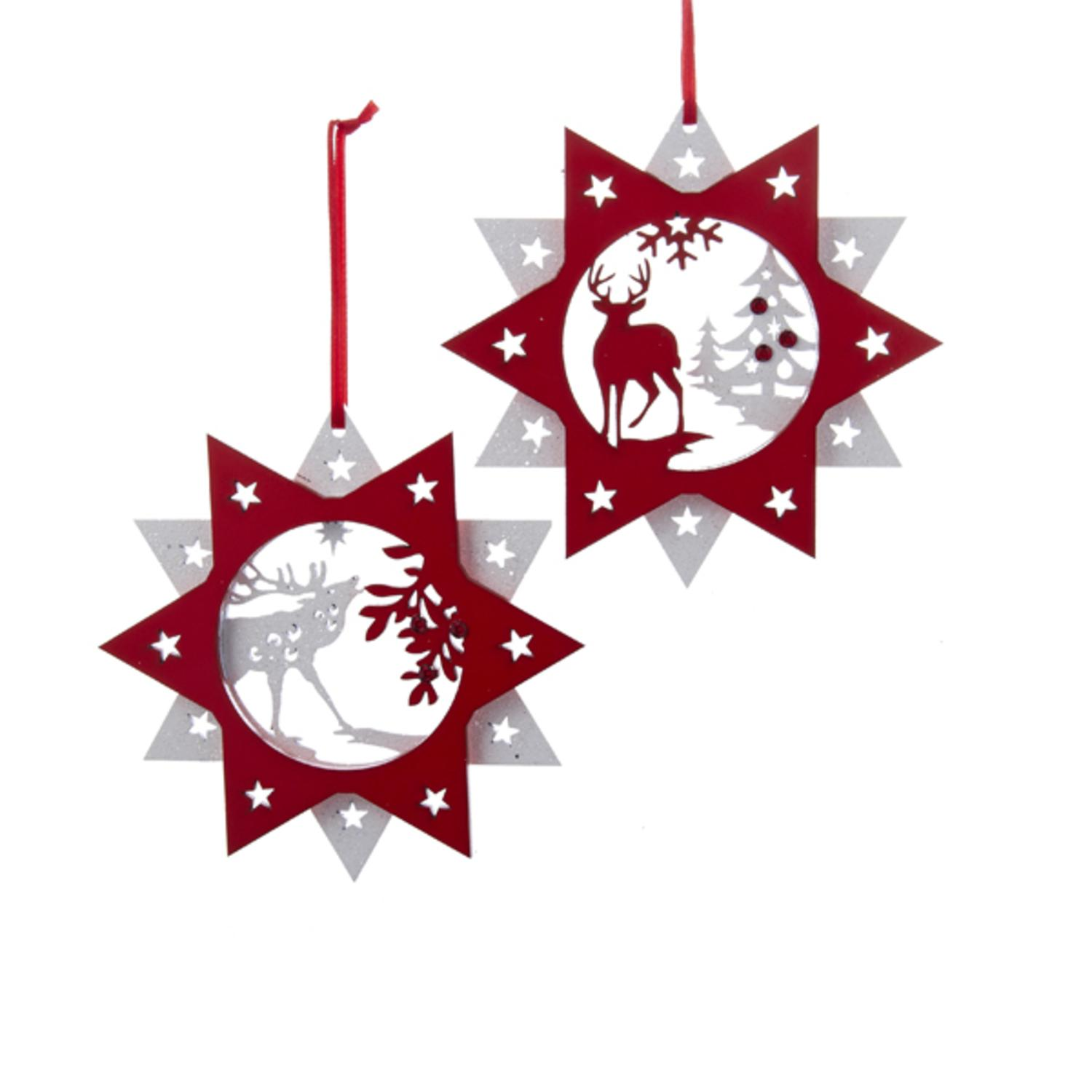 "5.5"" Alpine Chic Red and White Wooden Star with Reindeer Cut-Out Christmas Ornament"