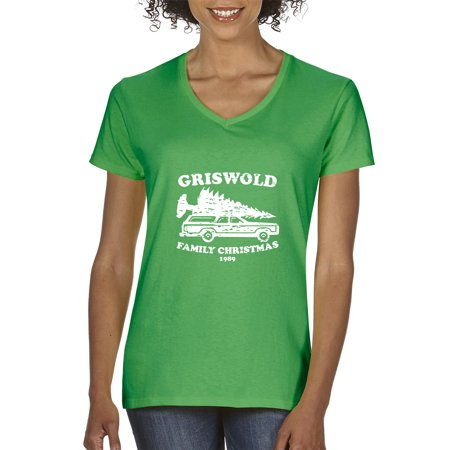 New Way 1132 - Women's V-Neck T-Shirt Griswold Family Christmas 1989 XS Kelly - Halloween V 1989
