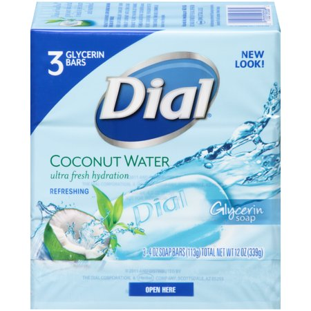 Dial glycerin bar soap, coconut water, 4 ounce bars, 3 count