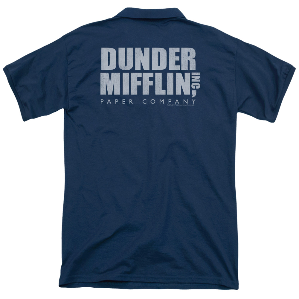 The Office Dunder Mifflin Distressed (Back Print) Mens Polo Shirt