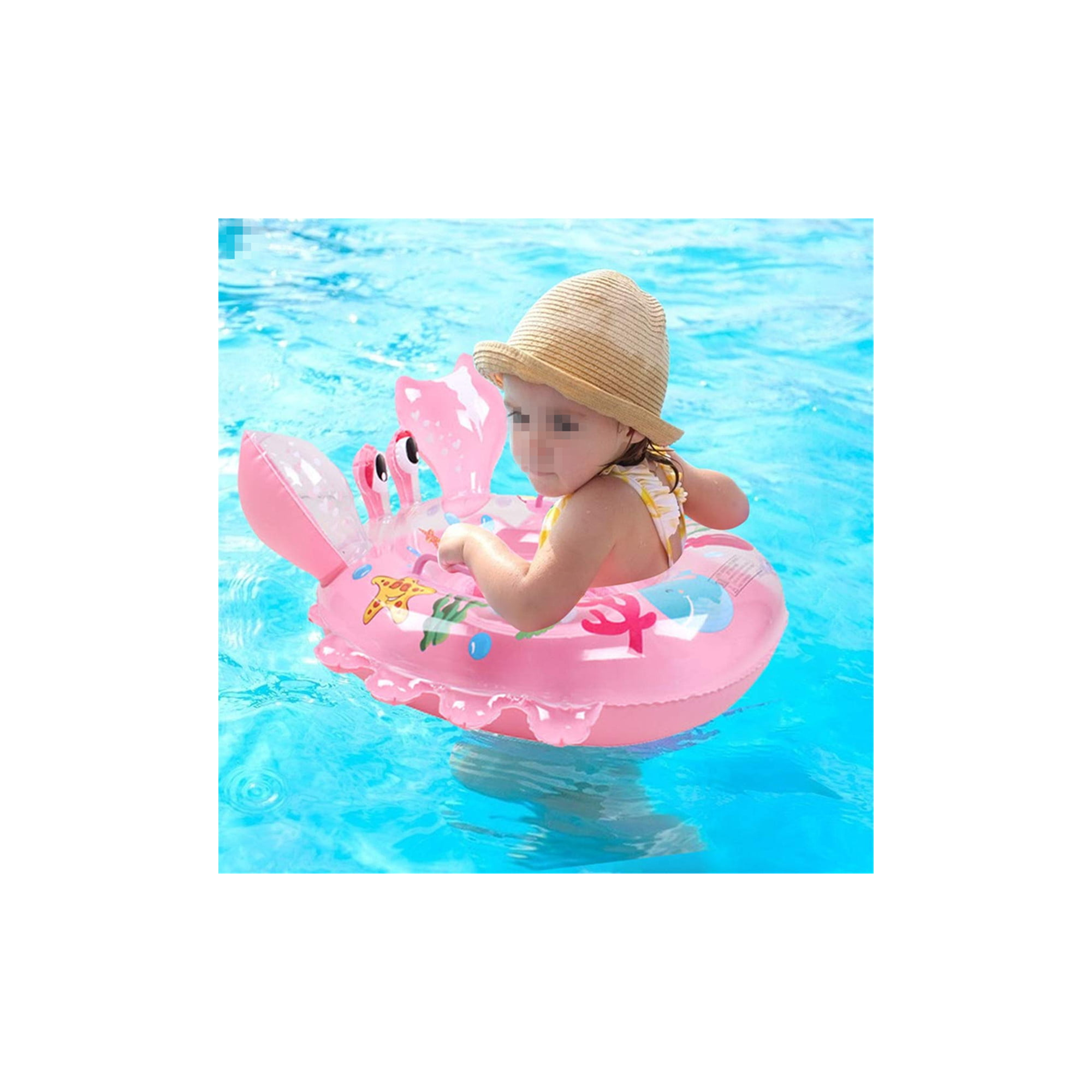 Baby Swimming Ring Floats with Safety Seat Double Handle Inflatable Infant  Swim Ring for Babies Kids Swimming Float Baby Floaties for Pool Swim ...
