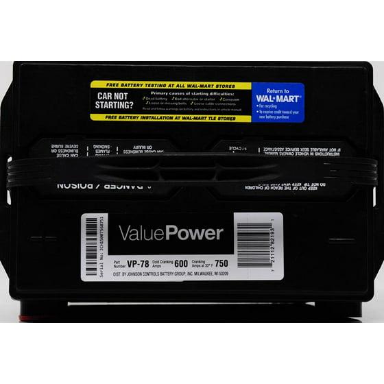 ValuePower Lead Acid Automotive Battery, Group 78