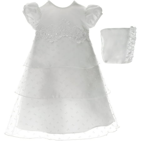 Christening Baptism Newborn Baby Girl Special Occasion Bow Pattern Organza Triple-Tiered Dress w/ Matching Hat