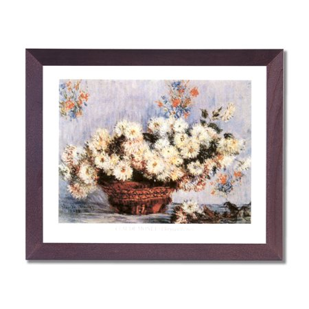 Monet Chrysanthemum Flower In Basket Floral Wall Picture Cherry Framed Art (Chrysanthemum Cherry)