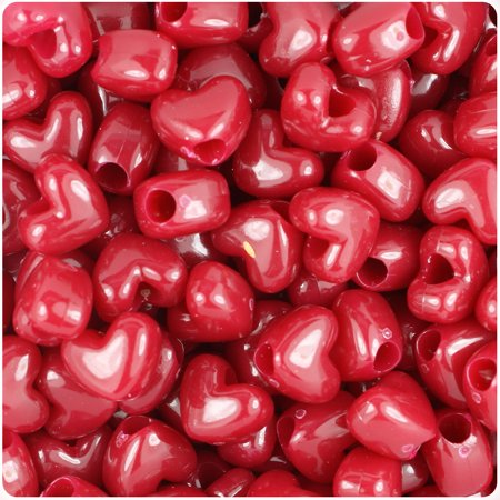 Heart Beads (BeadTin Burgundy Opaque 12mm Heart Pony Beads)
