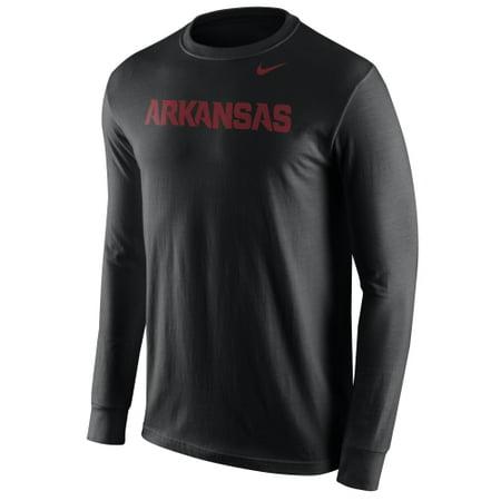 Arkansas Razorbacks Nike Wordmark Crew Neck Long Sleeve T-Shirt - Black