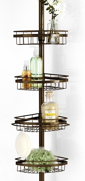 Ultimate 4 Wire Shelf Corner Pole BathTub Adjustable Shower Caddy by Popular Bath Products