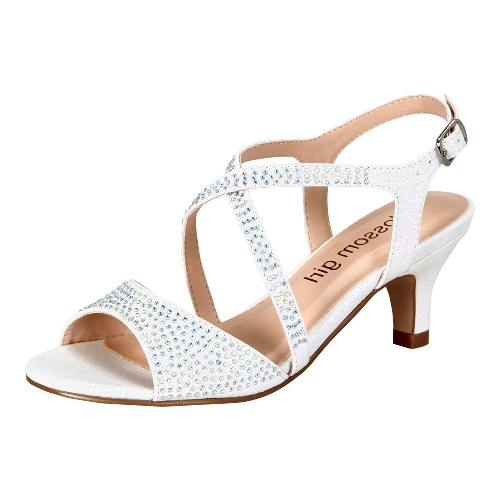 Little Girls White Rhinestone Criss Cross Strap Low Heel Sandals 8-10 Toddler