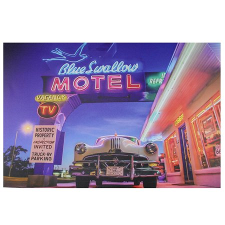 LED Lighted Famous Blue Swallow Motel with Classic Car Canvas Wall Art 15.75
