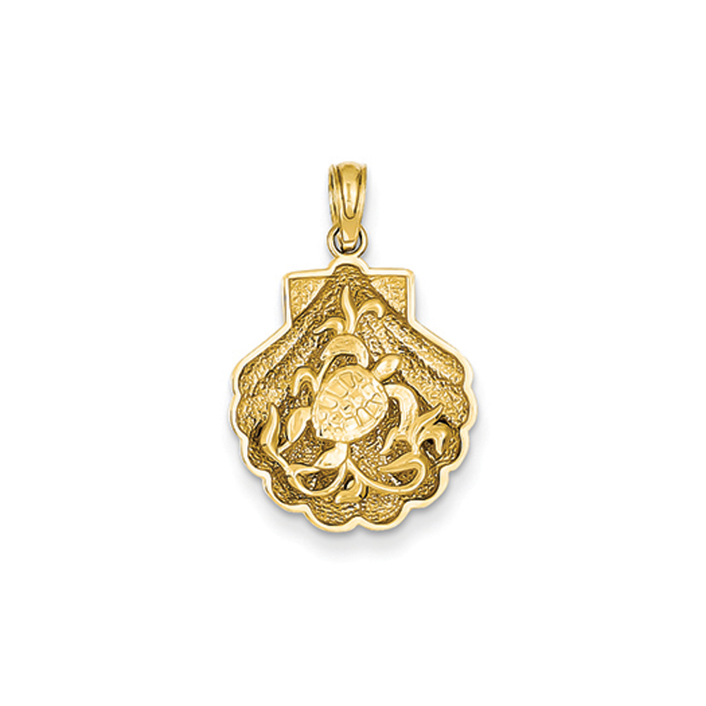14k Yellow Gold Sea Turtle and Kelp in a Scallop Shell Pendant by Black Bow Jewelry Company