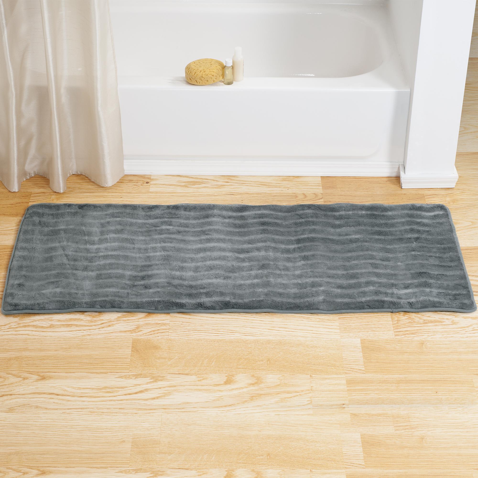 Lavish Home Memory Foam Extra Long Bath Rug Mat - Platinum - 24x60