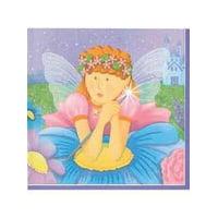 Fairy Princess Birthday Party Napkins - Fairy Princess Lunch Napkins - 16 Count