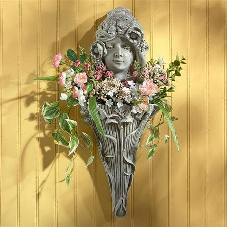 Design Toscano Art Nouveau Poppy Princess Wall Pocket Planter Sculpture