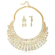 Ladies Three Tier Iced Out Bib Necklace 16 Inch Adjustable with Matching Earrings Designer Inspired Jewelry Set (Goldtone / Clear AB)