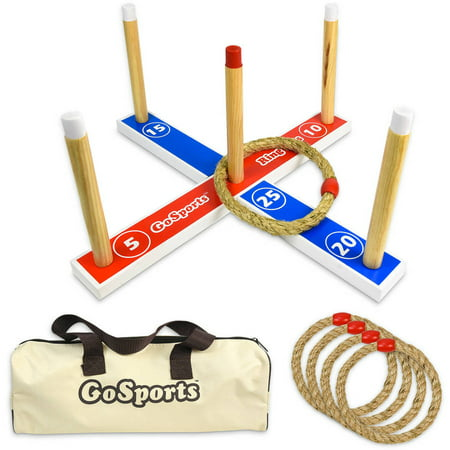 GoSports Premium Wooden Ring Toss Game with Carrying Case, Indoor Outdoor Fun for all - Ring Toss