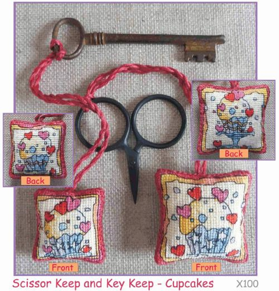Michael Powell Counted Cross Stitch Scissor Keep and Key Keep Kit Cupcakes by Michael Powell