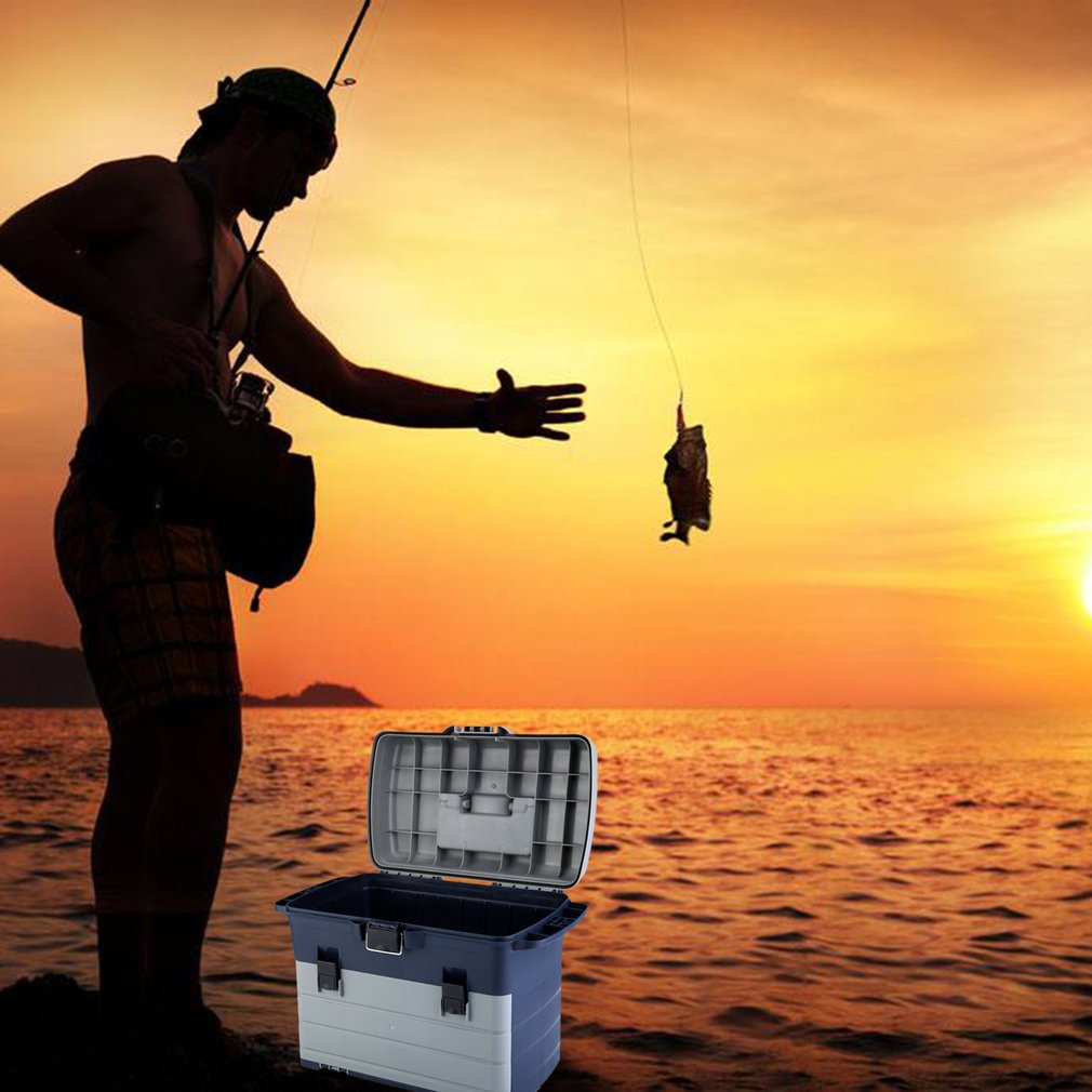 Fishing Tackle Box 3 Removable Trays Lures Bait Storage Box Organizer Case by RANGE