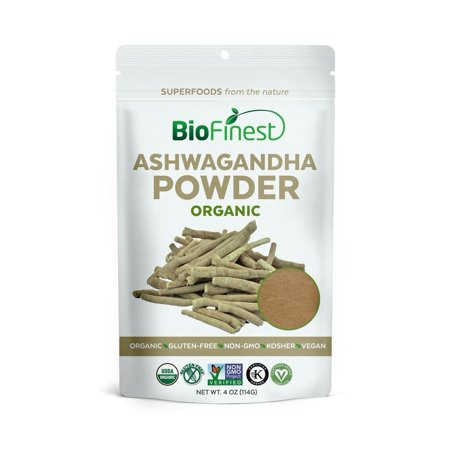 Biofinest Ashwagandha Root Powder (Indian Ginseng) - 100% Pure Freeze-Dried Antioxidant Superfood - USDA Certified Organic Kosher Vegan Raw Non-GMO - Boost Stamina - For Smoothie Beverage Blend (4 (Not Certified Kosher 100 Tab)