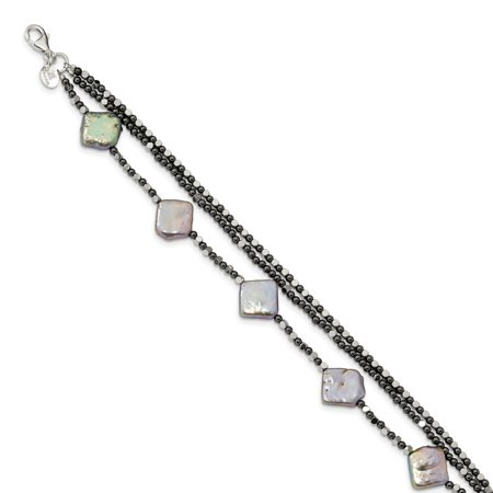 Fw Cult Pearl (2.4mm Sterling Silver Hematite and Fw Cult. Pearl 3-strand W1inch Ext. Fancy Bracelet - 8)