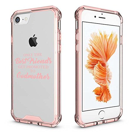 For Apple iPhone Clear Shockproof Bumper Case Hard Cover The Best Friends Get Promoted To Godmother (Pink for iPhone 6 Plus/6s