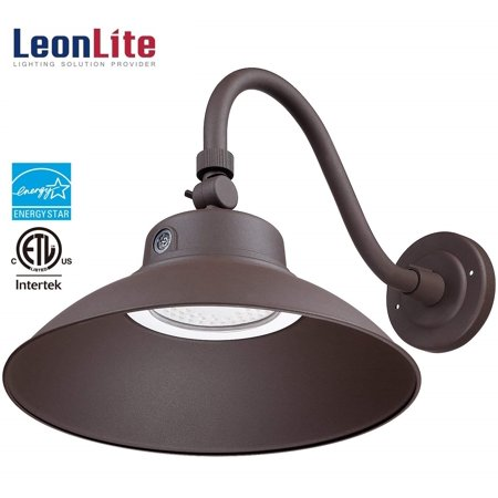 Leonlite 42w Led Gooseneck Barn Light Swivel Head Outdoor Fixture Etl Energy Star Listed 5000k Daylight 4000lm Brown