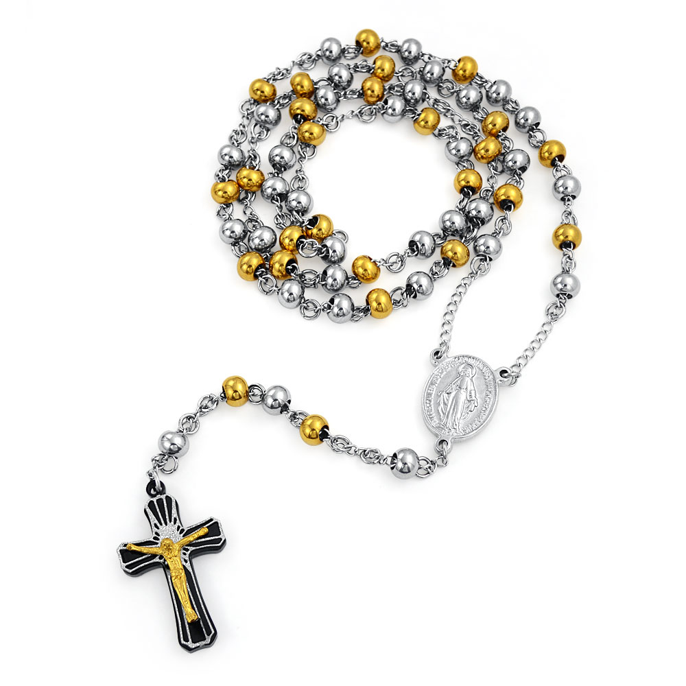 Bling Jewelry Mens Gold Plated Stainless Rosary Cross Crucifix Necklace