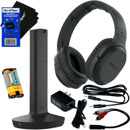 Sony TV Wireless Over-Ear Noise Reduction Comfortable Wireless Headphones (WHRF400R) with Transmitter Dock (TMRRF400) + Sony Rechargeable Battery + Connecting Cables + AC adapter. For watching The TV