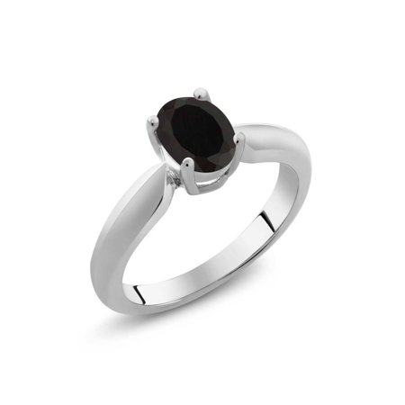 - 0.68 Ct Oval Black Onyx 925 Sterling Silver Women's Ring