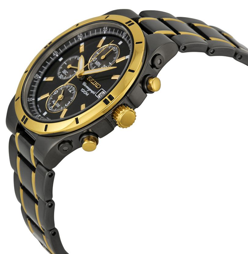 Seiko Alarm Chronograph Men's TiCN & Goldtone Watch - Bla...