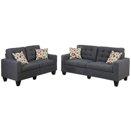 2 Piece Fabric Loveseat - Bobkona Windsor Linen-Like Polyfabric 2-Piece Sofa and Loveseat Set