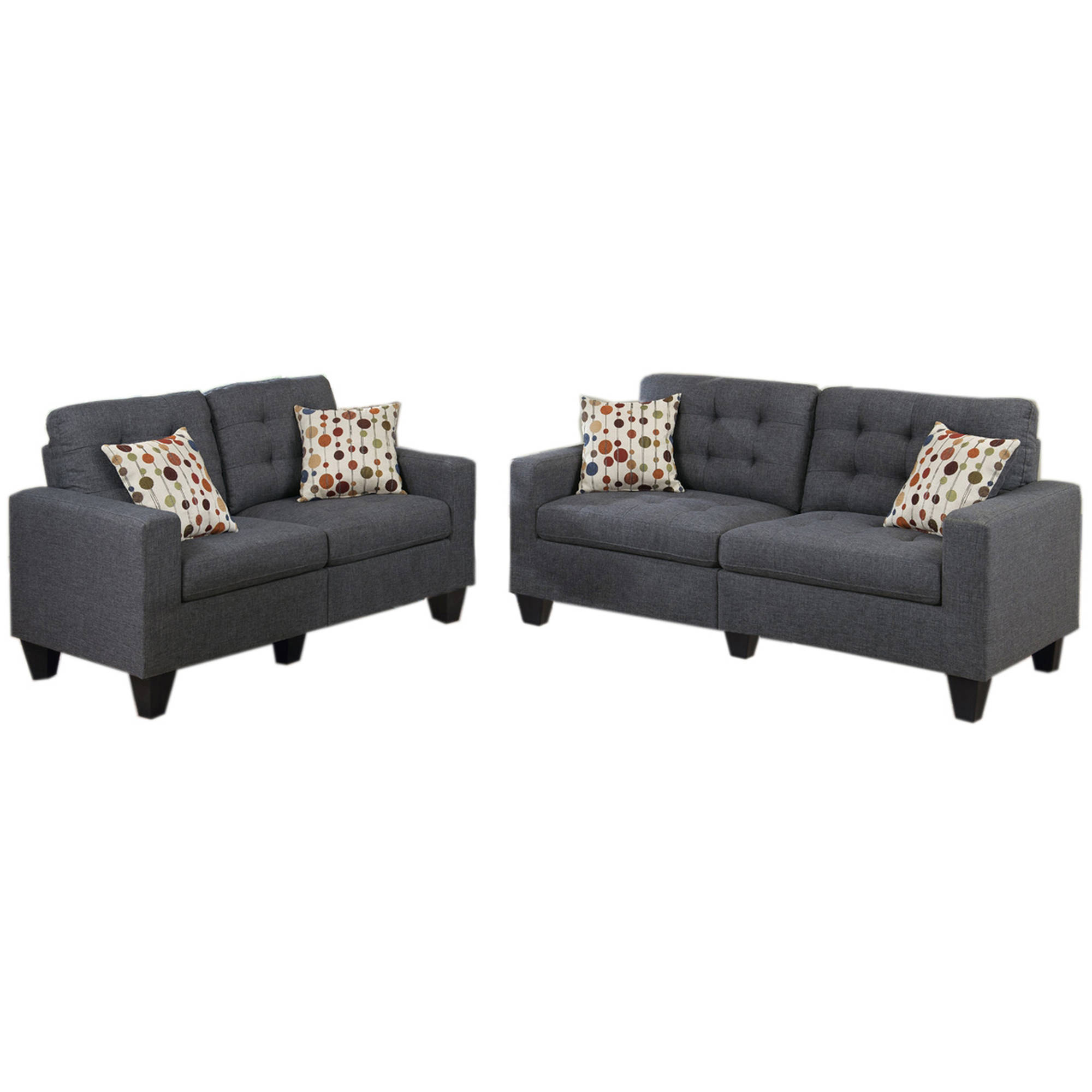 Superbe Bobkona Windsor Linen Like Polyfabric 2 Piece Sofa And Loveseat Set