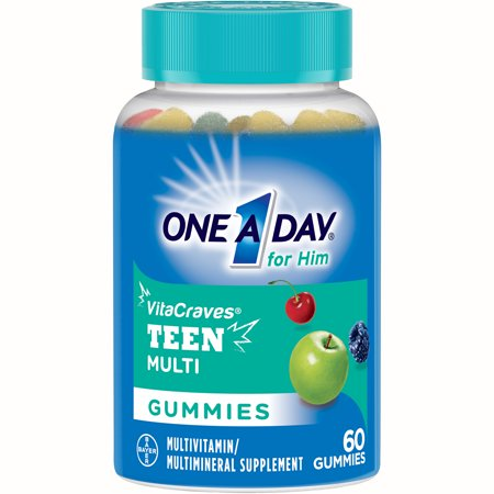 One A Day VitaCraves Teen For Him Multivitamin Gummies Supplement with Vitamins A, C, E, B3, B6, B12, Calcium, and Vitamin D, 60