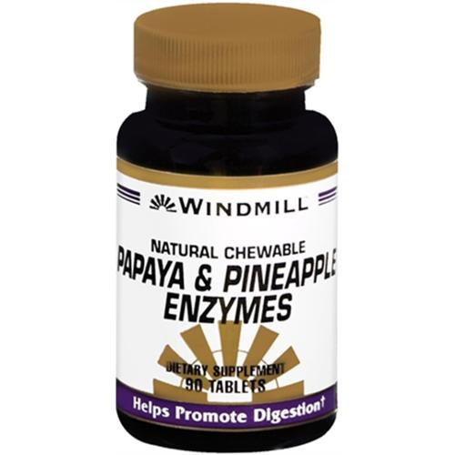 Windmill Papaya and Pineapple Enzymes Chewable Tablets 90 Tablets (Pack of 6)